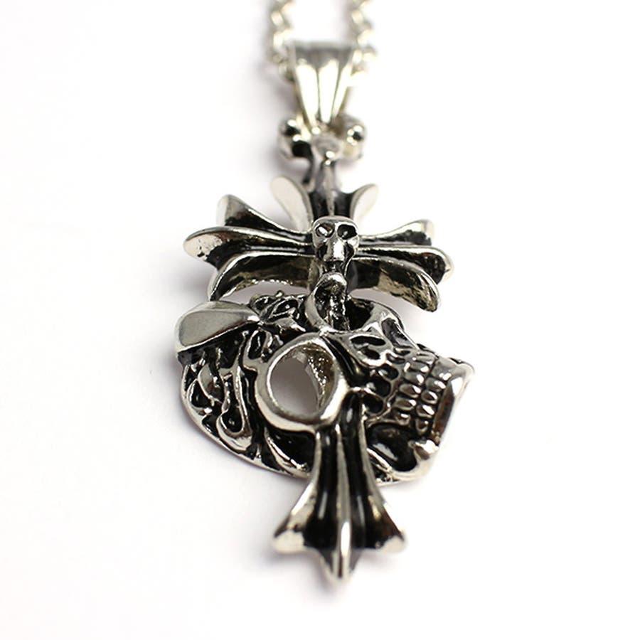 クロスがスカルを貫くシルバー風ゴシックネックレス いぶし加工風スカルクロス SPST030 メンズネックレス necklace 3