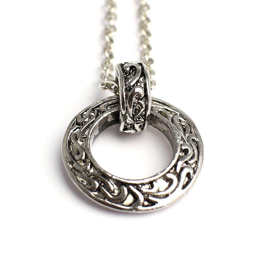 いぶし加工風アラベスクリングネックレス シルバー風サークルネックレス SPST031 メンズネックレス necklace 3