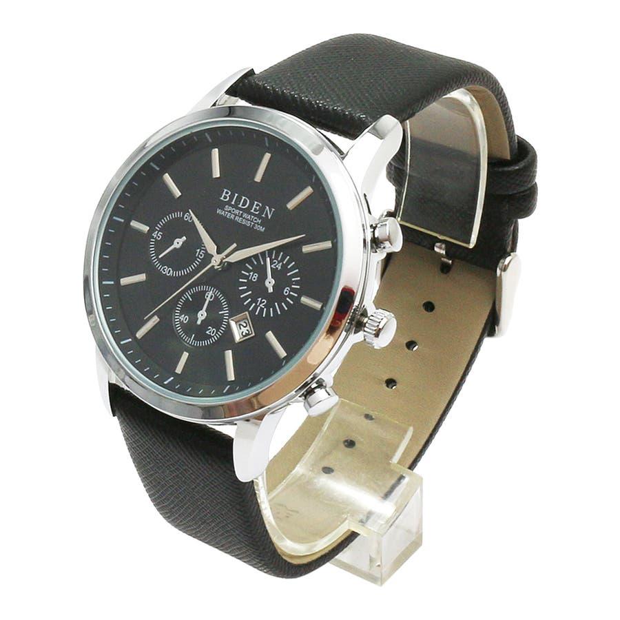 【BIDEN バイデン】日常生活防水 カレンダー 日付表示 3フェイクダイヤルデザインウォッチ レザー BD007 メンズ腕時計 7
