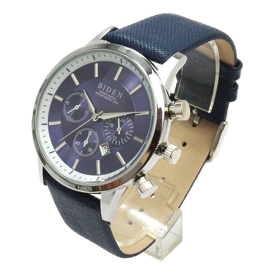 【BIDEN バイデン】日常生活防水 カレンダー 日付表示 3フェイクダイヤルデザインウォッチ レザー BD007 メンズ腕時計 8