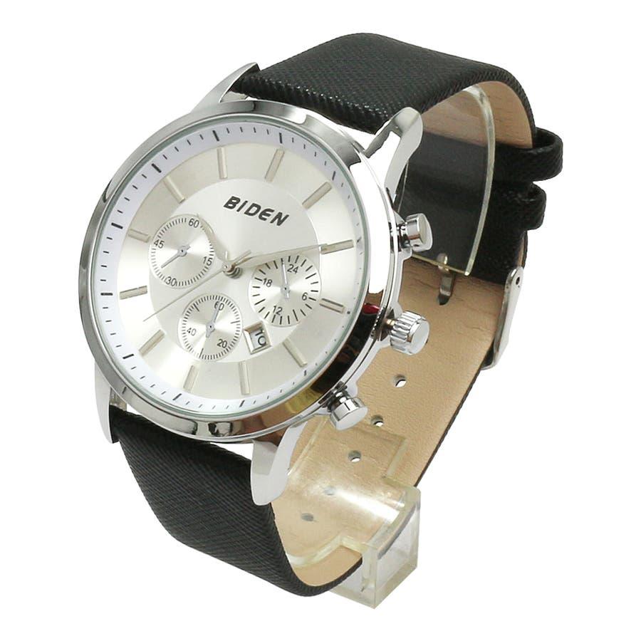 【BIDEN バイデン】日常生活防水 カレンダー 日付表示 3フェイクダイヤルデザインウォッチ レザー BD007 メンズ腕時計 9