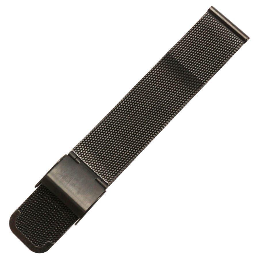 替えベルト 時計バンド 手元で輝く存在感 ステンメッシュベルト ブラック 黒 スライド式 スライド式ベルト 2サイズ [18mm][20mm] BELT007 腕時計用ベルト 7