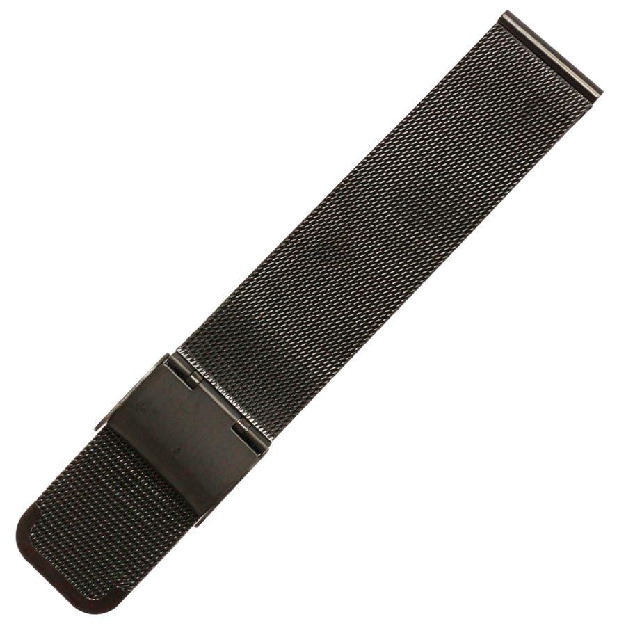 替えベルト 時計バンド 手元で輝く存在感 ステンメッシュベルト ブラック 黒 スライド式 スライド式ベルト 2サイズ [18mm][20mm] BELT007 腕時計用ベルト 8