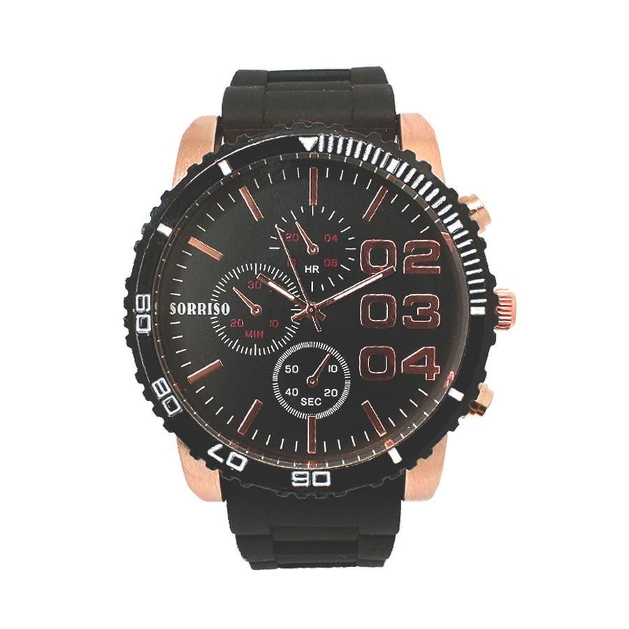 正規品SORRISOソリッソ 52mmビッグケースにラバーベルトのフェイククロノグラフ フェイクダイヤル SRF4 メンズ腕時計 7