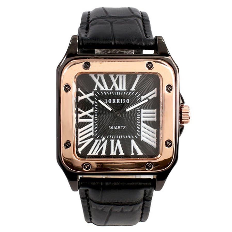 正規品SORRISOソリッソ 高級感漂うスクエアケースにローマ数字インデックスのシンプル上品時計 SRHI9 メンズ腕時計 7