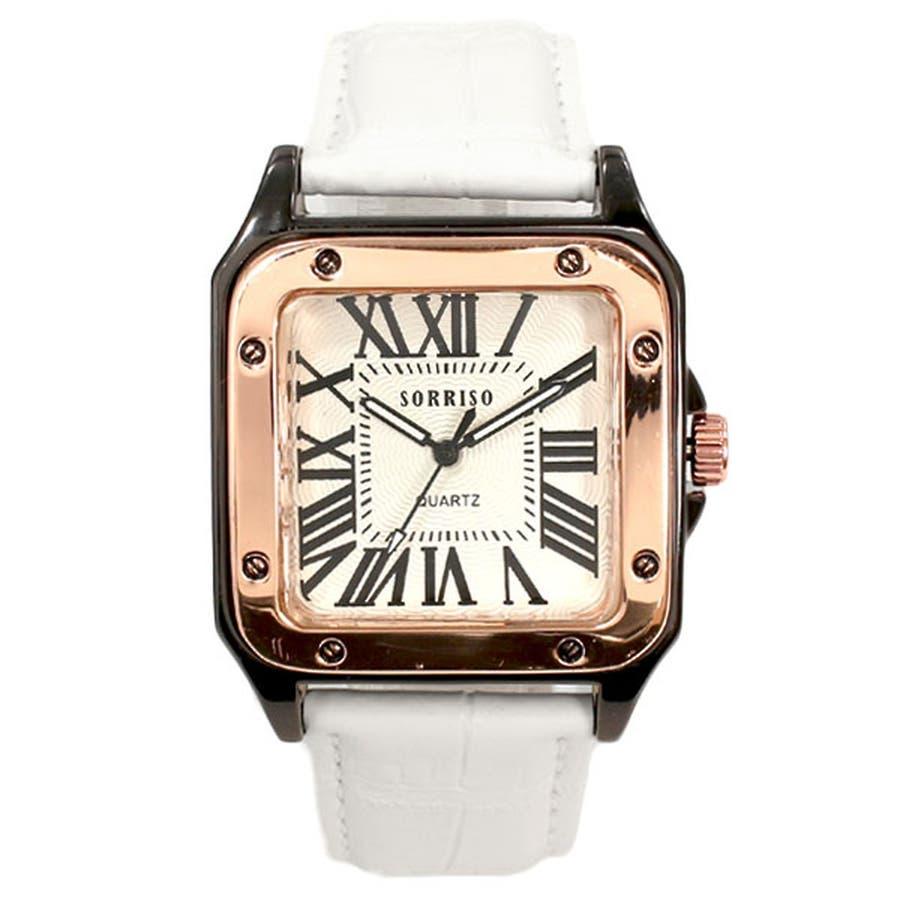 正規品SORRISOソリッソ 高級感漂うスクエアケースにローマ数字インデックスのシンプル上品時計 SRHI9 メンズ腕時計 8