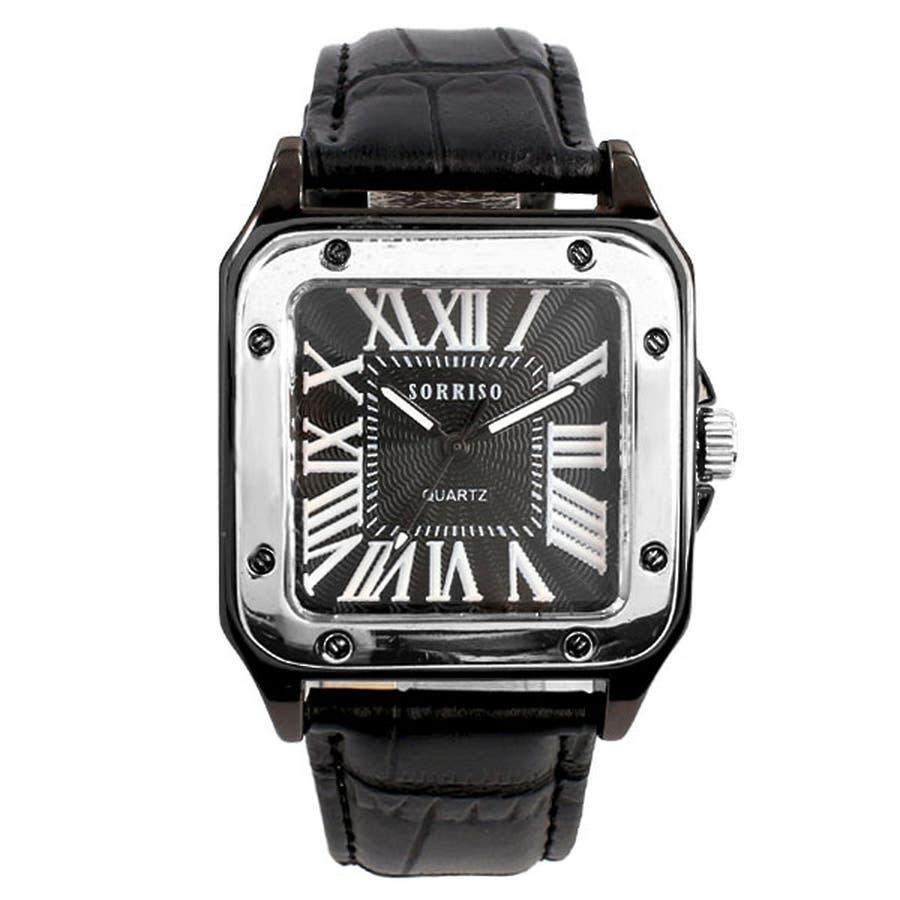 正規品SORRISOソリッソ 高級感漂うスクエアケースにローマ数字インデックスのシンプル上品時計 SRHI9 メンズ腕時計 11