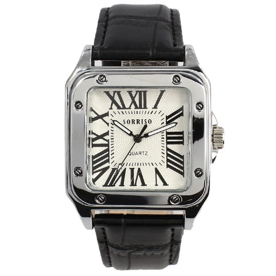 正規品SORRISOソリッソ 高級感漂うスクエアケースにローマ数字インデックスのシンプル上品時計 SRHI9 メンズ腕時計 9