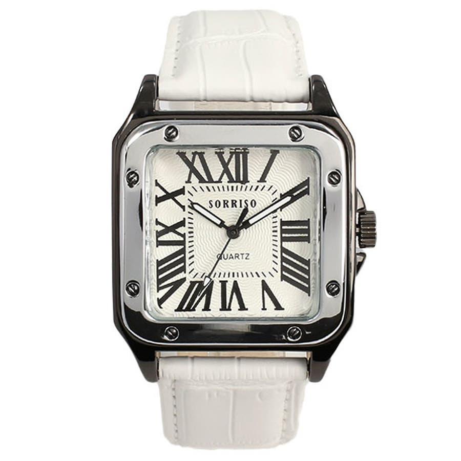 正規品SORRISOソリッソ 高級感漂うスクエアケースにローマ数字インデックスのシンプル上品時計 SRHI9 メンズ腕時計 10