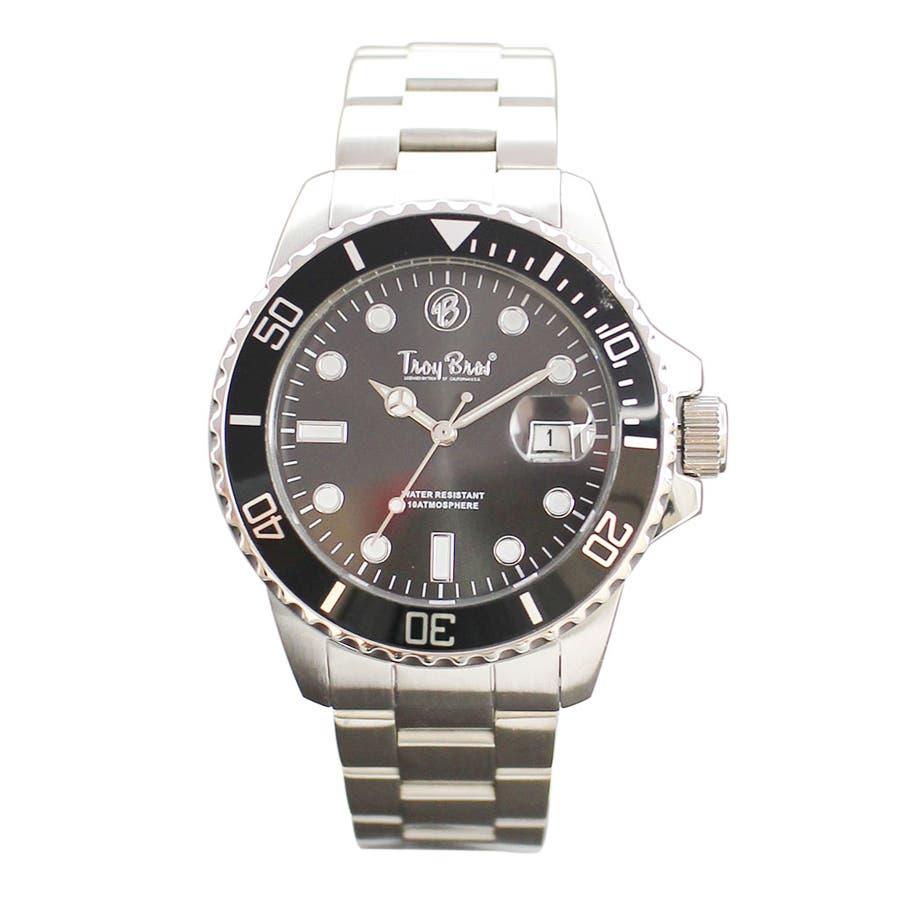 数量限定 10気圧防水 オールステンレス トロイブロス Troy Bros 逆回転防止ベゼル TAC21151 メンズ腕時計 6