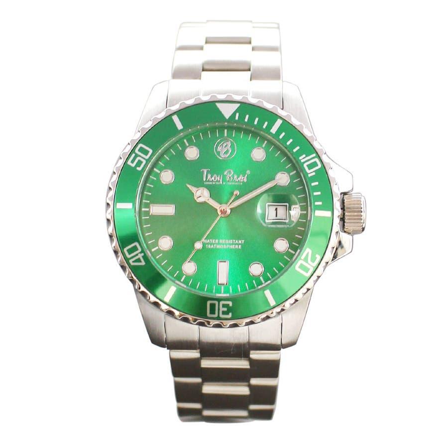 数量限定 10気圧防水 オールステンレス トロイブロス Troy Bros 逆回転防止ベゼル TAC21151 メンズ腕時計 7