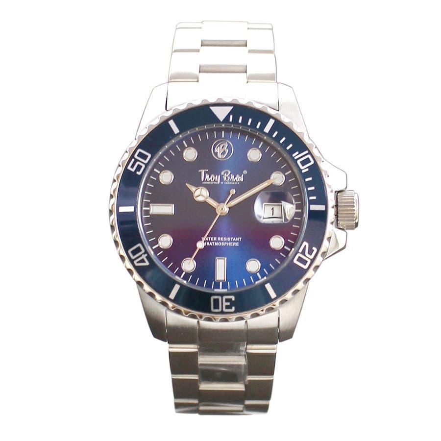 数量限定 10気圧防水 オールステンレス トロイブロス Troy Bros 逆回転防止ベゼル TAC21151 メンズ腕時計 8