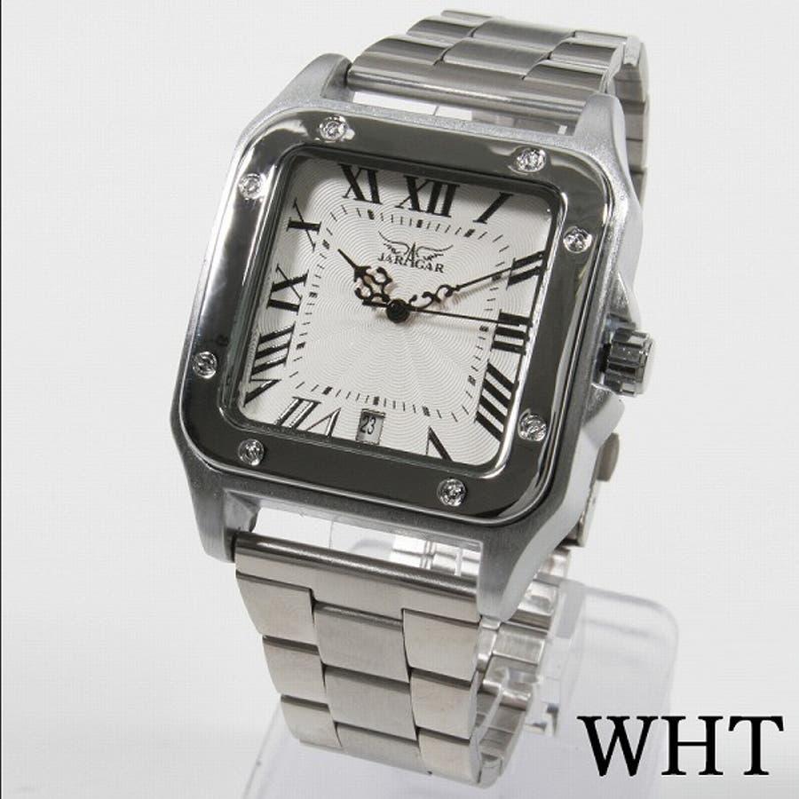 innovative design 0e39d b5576 自動巻き腕時計 ATW010 スクエアケース 日付カレンダー メタルベルト 手巻き時計 機械式腕時計 メンズ腕時計