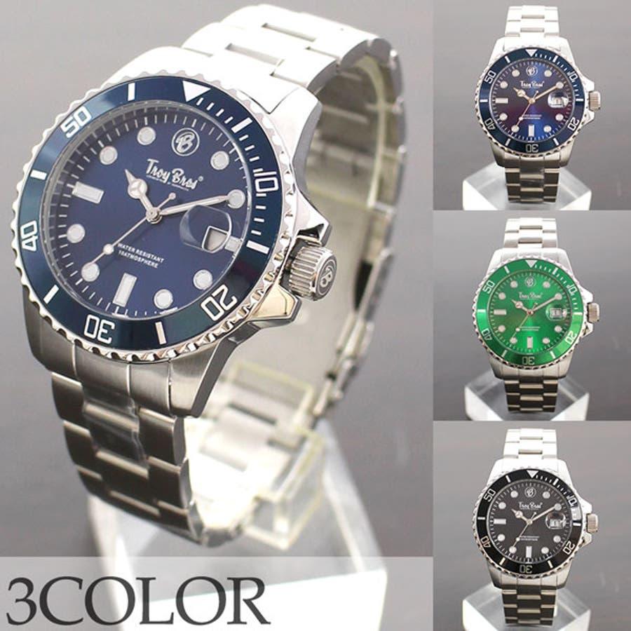 数量限定 10気圧防水 オールステンレス トロイブロス Troy Bros 逆回転防止ベゼル TAC21151 メンズ腕時計 1