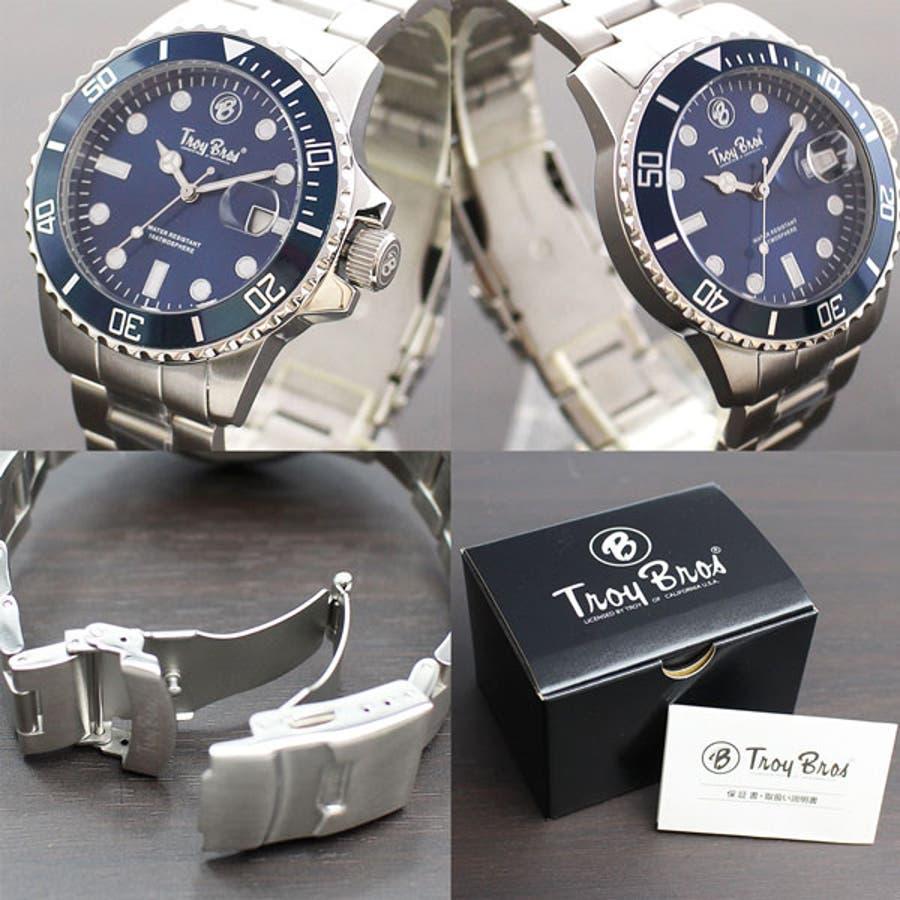 数量限定 10気圧防水 オールステンレス トロイブロス Troy Bros 逆回転防止ベゼル TAC21151 メンズ腕時計 3