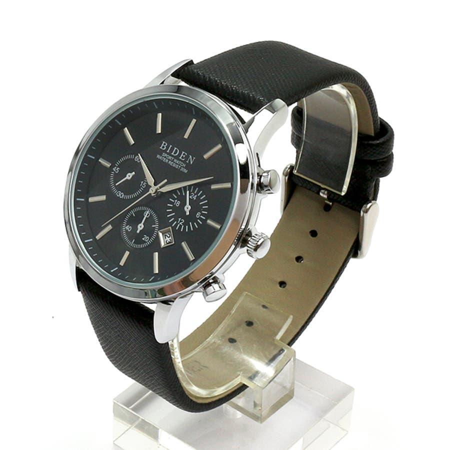 【BIDEN バイデン】日常生活防水 カレンダー 日付表示 3フェイクダイヤルデザインウォッチ レザー BD007 メンズ腕時計 2