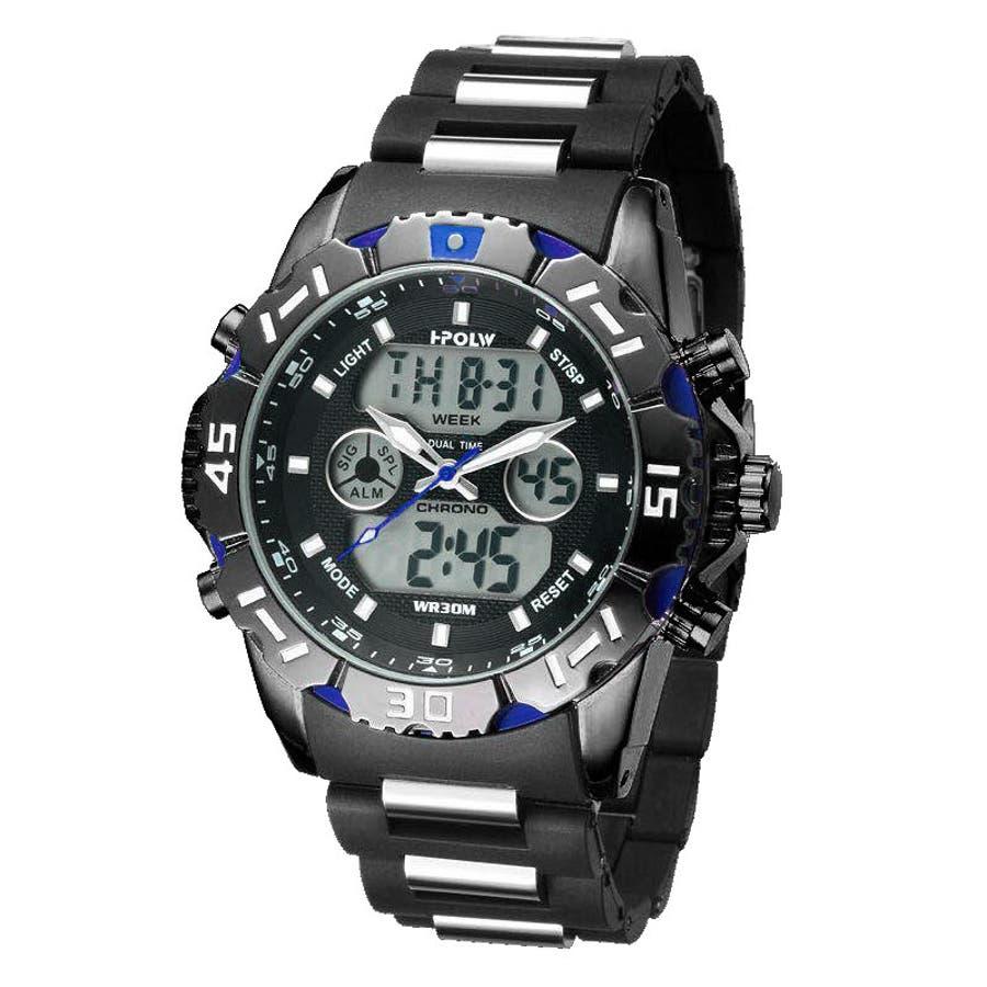 デュアルタイム アナデジ腕時計 デジアナ HPFS1510-BKBL アナログ&デジタル ダイバーズウォッチ風 3気圧防水ラバーベルト クロノグラフ トリプルカレンダー バックライト アラーム 時報 メンズ腕時計 1