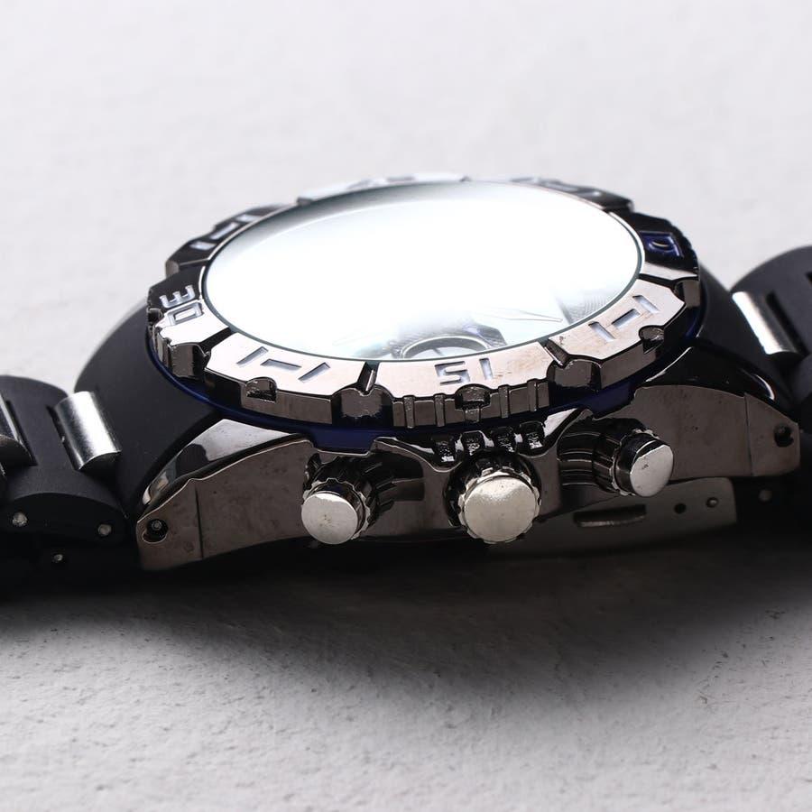 デュアルタイム アナデジ腕時計 デジアナ HPFS1510-BKBL アナログ&デジタル ダイバーズウォッチ風 3気圧防水ラバーベルト クロノグラフ トリプルカレンダー バックライト アラーム 時報 メンズ腕時計 2