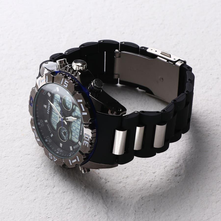 デュアルタイム アナデジ腕時計 デジアナ HPFS1510-BKBL アナログ&デジタル ダイバーズウォッチ風 3気圧防水ラバーベルト クロノグラフ トリプルカレンダー バックライト アラーム 時報 メンズ腕時計 3