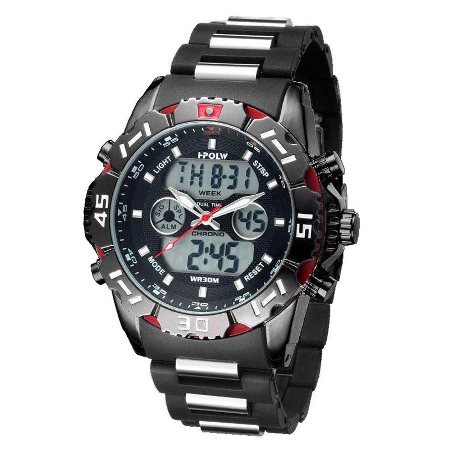 デュアルタイム アナデジ腕時計 デジアナ HPFS1510-BKRD アナログ&デジタル ダイバーズウォッチ風 3気圧防水ラバーベルト クロノグラフ トリプルカレンダー バックライト アラーム 時報 メンズ腕時計 1