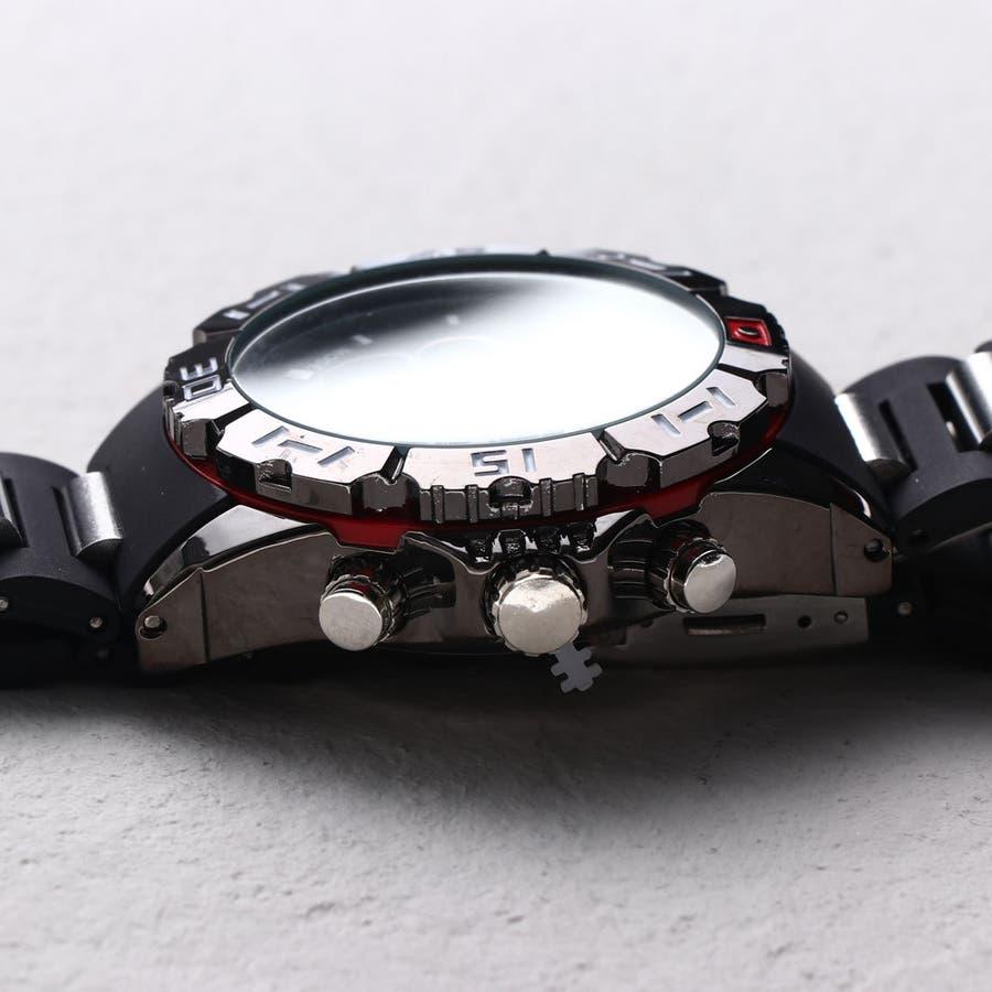 デュアルタイム アナデジ腕時計 デジアナ HPFS1510-BKRD アナログ&デジタル ダイバーズウォッチ風 3気圧防水ラバーベルト クロノグラフ トリプルカレンダー バックライト アラーム 時報 メンズ腕時計 2