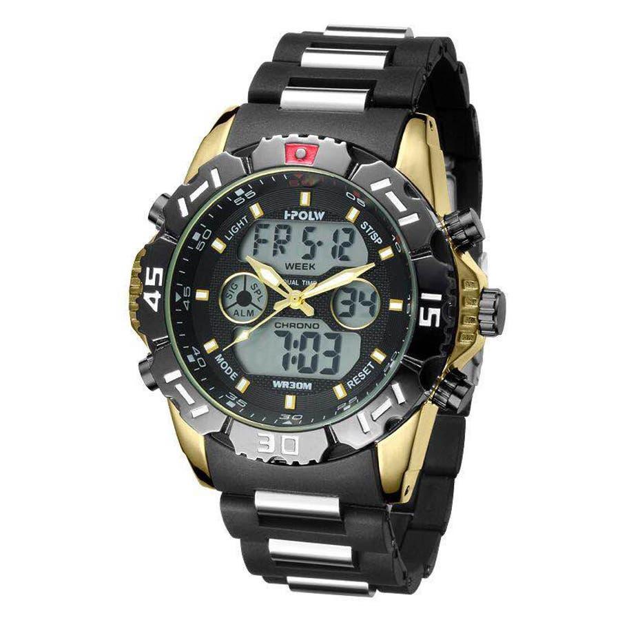 デュアルタイム アナデジ腕時計 デジアナ HPFS1510-YGBK アナログ&デジタル ダイバーズウォッチ風 3気圧防水ラバーベルト クロノグラフ トリプルカレンダー バックライト アラーム 時報 メンズ腕時計 1