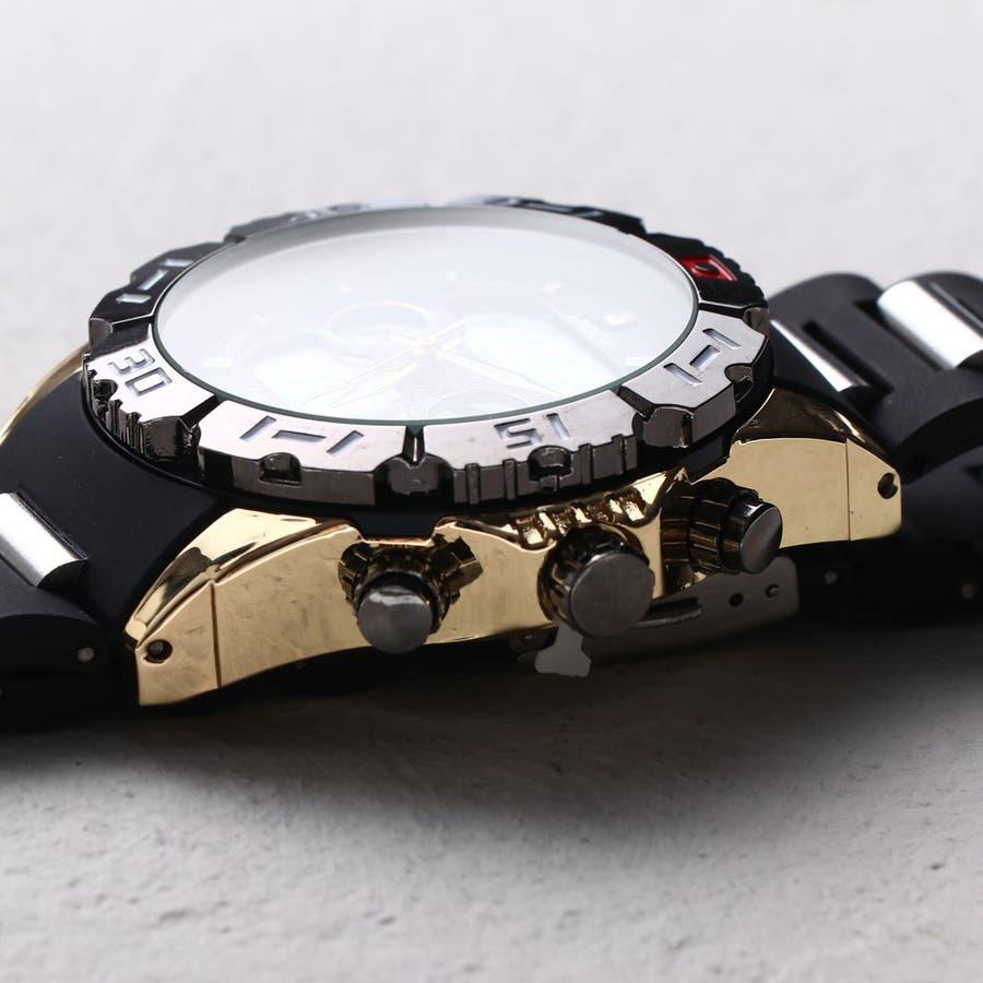 デュアルタイム アナデジ腕時計 デジアナ HPFS1510-YGBK アナログ&デジタル ダイバーズウォッチ風 3気圧防水ラバーベルト クロノグラフ トリプルカレンダー バックライト アラーム 時報 メンズ腕時計 2