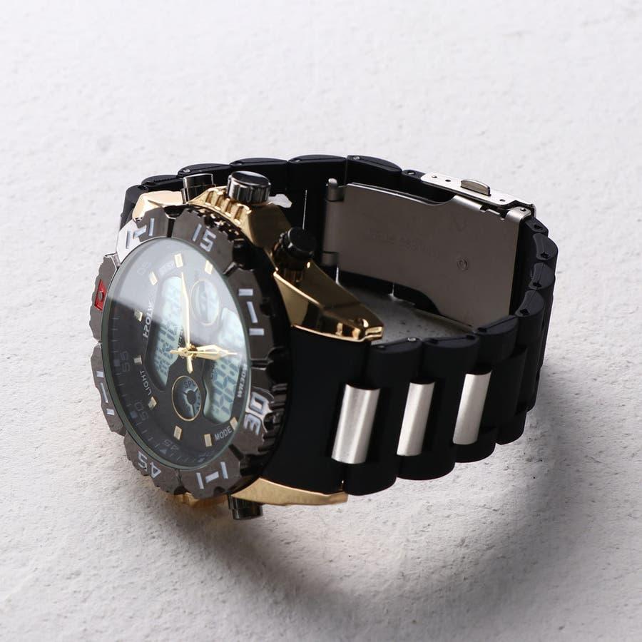 デュアルタイム アナデジ腕時計 デジアナ HPFS1510-YGBK アナログ&デジタル ダイバーズウォッチ風 3気圧防水ラバーベルト クロノグラフ トリプルカレンダー バックライト アラーム 時報 メンズ腕時計 3