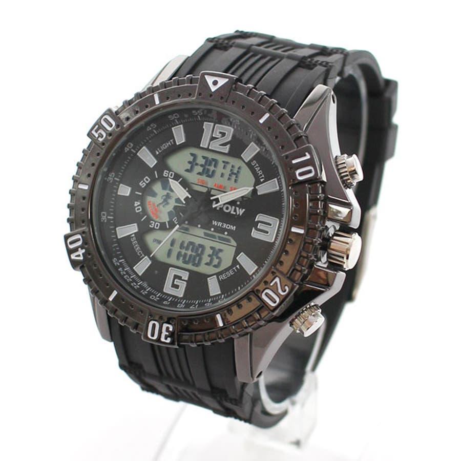 デュアルタイム アナデジ腕時計 デジアナ HPFS1702-BKBK2 アナログ&デジタル ダイバーズウォッチ風 3気圧防水ラバーベルト クロノグラフ トリプルカレンダー バックライト アラーム 時報 メンズ腕時計 1