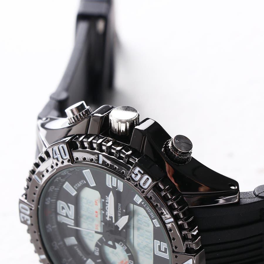デュアルタイム アナデジ腕時計 デジアナ HPFS1702-BKBK2 アナログ&デジタル ダイバーズウォッチ風 3気圧防水ラバーベルト クロノグラフ トリプルカレンダー バックライト アラーム 時報 メンズ腕時計 2