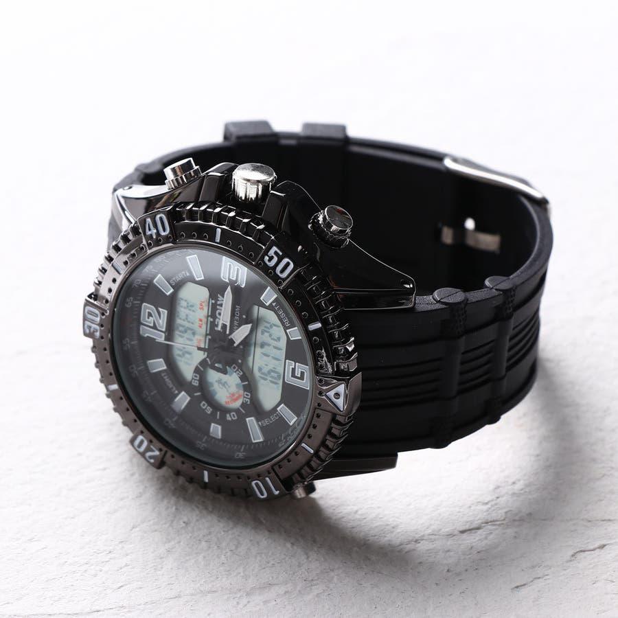 デュアルタイム アナデジ腕時計 デジアナ HPFS1702-BKBK2 アナログ&デジタル ダイバーズウォッチ風 3気圧防水ラバーベルト クロノグラフ トリプルカレンダー バックライト アラーム 時報 メンズ腕時計 3