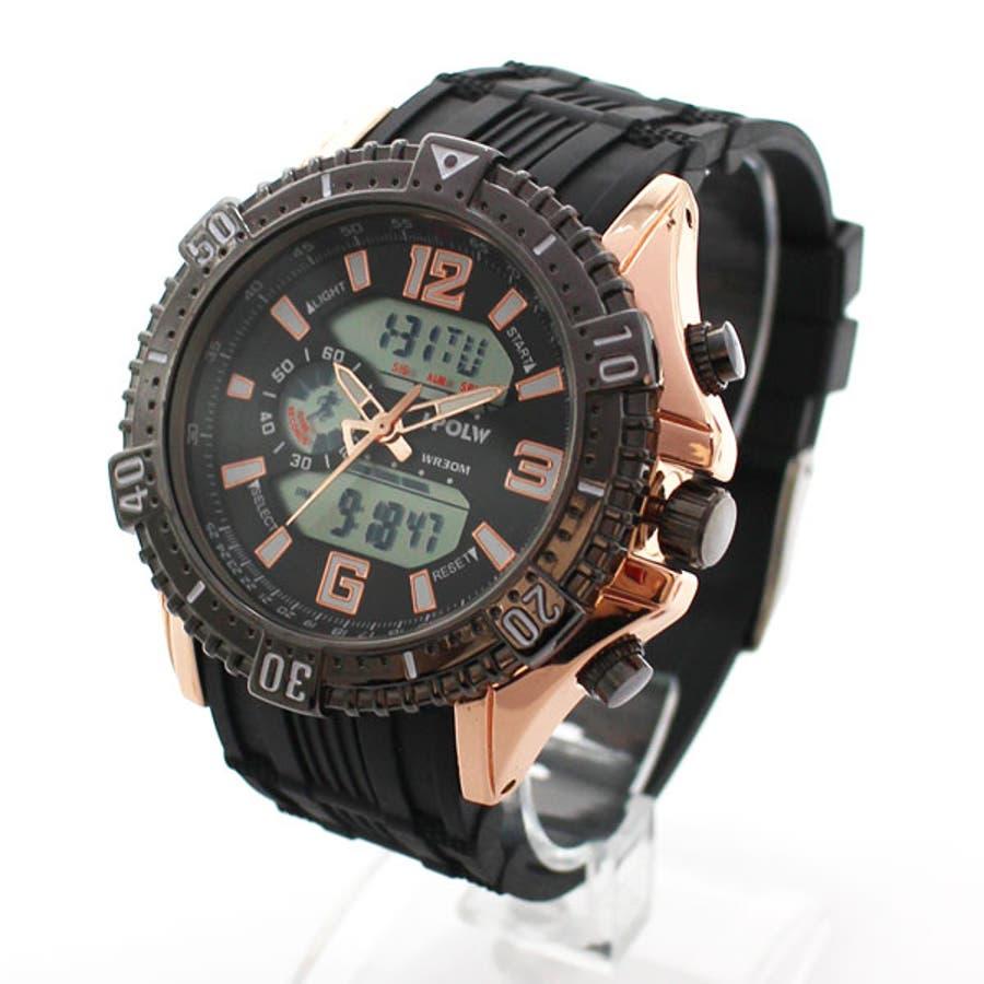 デュアルタイム アナデジ腕時計 デジアナ HPFS1702-PGBK2 アナログ&デジタル ダイバーズウォッチ風 3気圧防水ラバーベルト クロノグラフ トリプルカレンダー バックライト アラーム 時報 メンズ腕時計 1