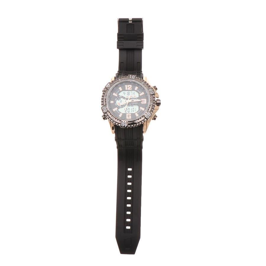 デュアルタイム アナデジ腕時計 デジアナ HPFS1702-PGBK2 アナログ&デジタル ダイバーズウォッチ風 3気圧防水ラバーベルト クロノグラフ トリプルカレンダー バックライト アラーム 時報 メンズ腕時計 2