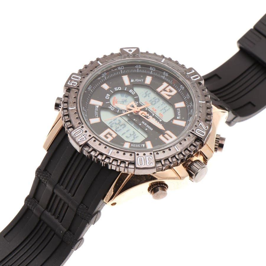 デュアルタイム アナデジ腕時計 デジアナ HPFS1702-PGBK2 アナログ&デジタル ダイバーズウォッチ風 3気圧防水ラバーベルト クロノグラフ トリプルカレンダー バックライト アラーム 時報 メンズ腕時計 3