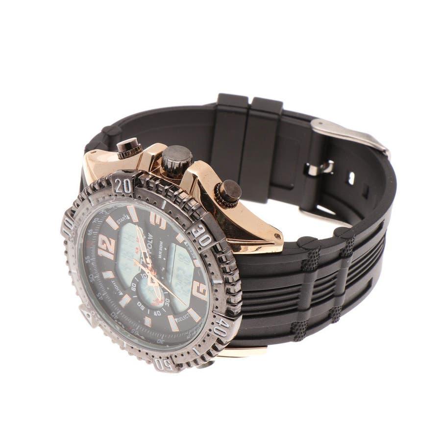 デュアルタイム アナデジ腕時計 デジアナ HPFS1702-PGBK2 アナログ&デジタル ダイバーズウォッチ風 3気圧防水ラバーベルト クロノグラフ トリプルカレンダー バックライト アラーム 時報 メンズ腕時計 4
