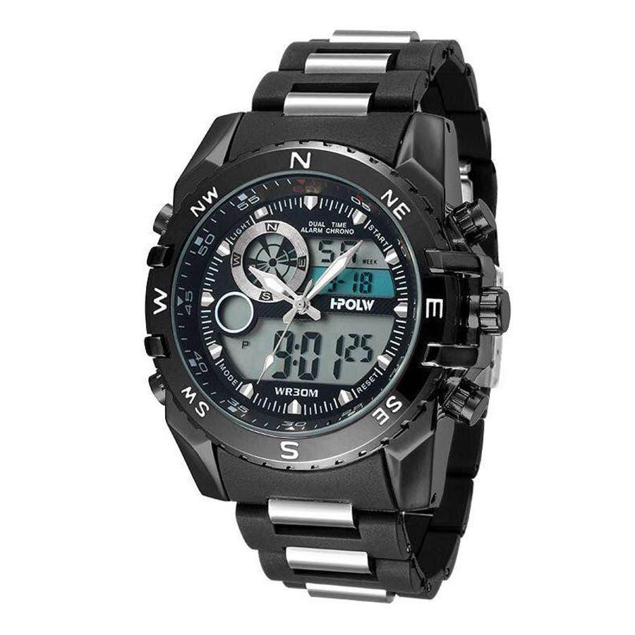 デュアルタイム アナデジ腕時計 デジアナ HPFS615-BKBK アナログ&デジタル ダイバーズウォッチ風 3気圧防水ラバーベルト クロノグラフ トリプルカレンダー バックライト アラーム 時報 メンズ腕時計 1