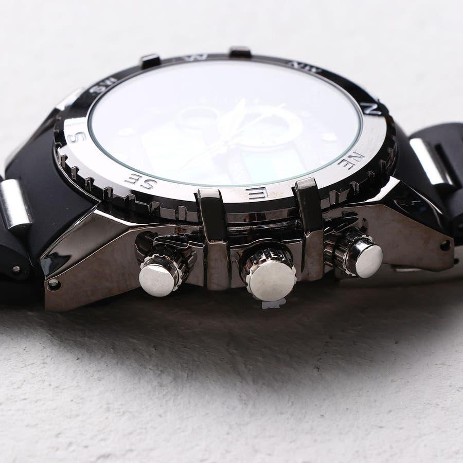 デュアルタイム アナデジ腕時計 デジアナ HPFS615-BKBK アナログ&デジタル ダイバーズウォッチ風 3気圧防水ラバーベルト クロノグラフ トリプルカレンダー バックライト アラーム 時報 メンズ腕時計 2