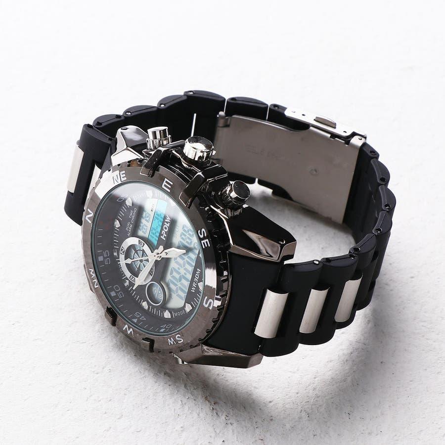 デュアルタイム アナデジ腕時計 デジアナ HPFS615-BKBK アナログ&デジタル ダイバーズウォッチ風 3気圧防水ラバーベルト クロノグラフ トリプルカレンダー バックライト アラーム 時報 メンズ腕時計 3