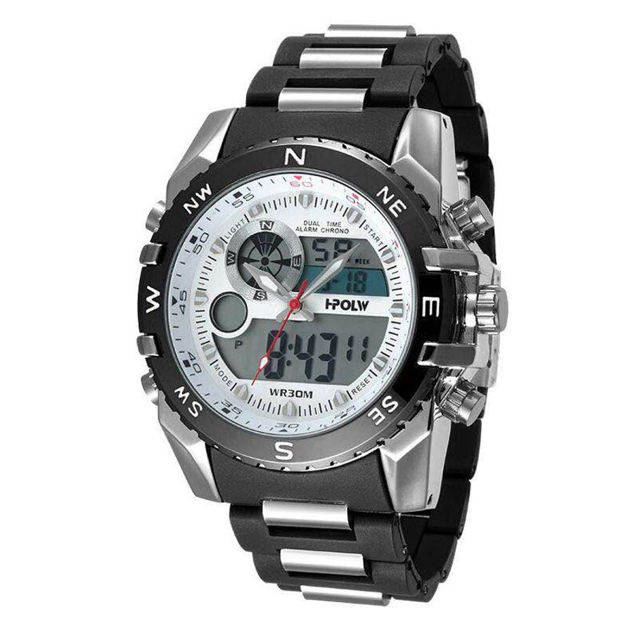 デュアルタイム アナデジ腕時計 デジアナ HPFS615-SVWH アナログ&デジタル ダイバーズウォッチ風 3気圧防水ラバーベルト クロノグラフ トリプルカレンダー バックライト アラーム 時報 メンズ腕時計 1
