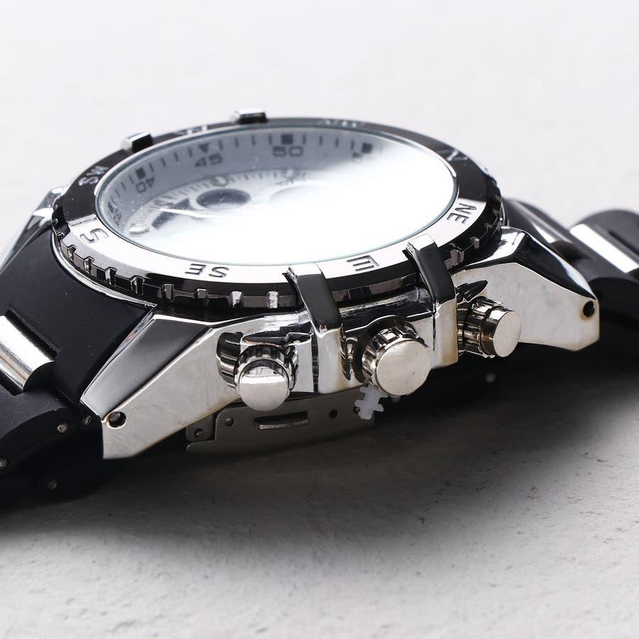 デュアルタイム アナデジ腕時計 デジアナ HPFS615-SVWH アナログ&デジタル ダイバーズウォッチ風 3気圧防水ラバーベルト クロノグラフ トリプルカレンダー バックライト アラーム 時報 メンズ腕時計 2