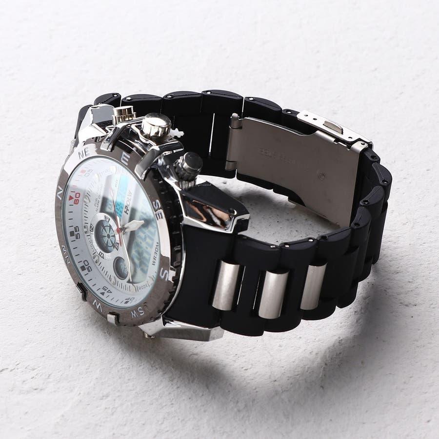 デュアルタイム アナデジ腕時計 デジアナ HPFS615-SVWH アナログ&デジタル ダイバーズウォッチ風 3気圧防水ラバーベルト クロノグラフ トリプルカレンダー バックライト アラーム 時報 メンズ腕時計 3