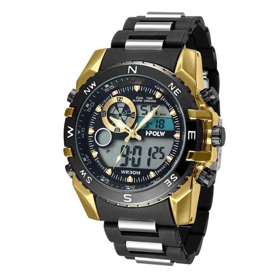 デュアルタイム アナデジ腕時計 デジアナ HPFS615-YGBK アナログ&デジタル ダイバーズウォッチ風 3気圧防水ラバーベルト クロノグラフ トリプルカレンダー バックライト アラーム 時報 メンズ腕時計 1