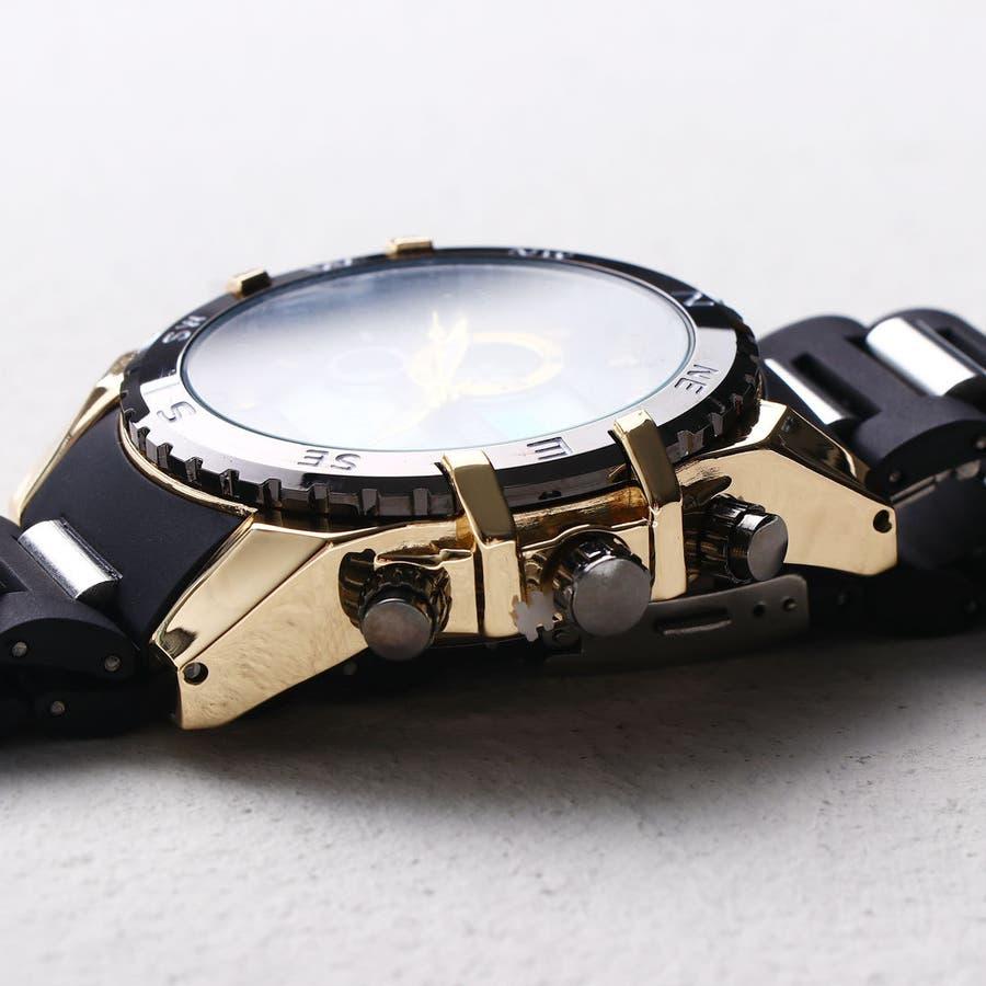 デュアルタイム アナデジ腕時計 デジアナ HPFS615-YGBK アナログ&デジタル ダイバーズウォッチ風 3気圧防水ラバーベルト クロノグラフ トリプルカレンダー バックライト アラーム 時報 メンズ腕時計 2