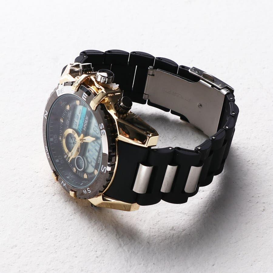 デュアルタイム アナデジ腕時計 デジアナ HPFS615-YGBK アナログ&デジタル ダイバーズウォッチ風 3気圧防水ラバーベルト クロノグラフ トリプルカレンダー バックライト アラーム 時報 メンズ腕時計 3