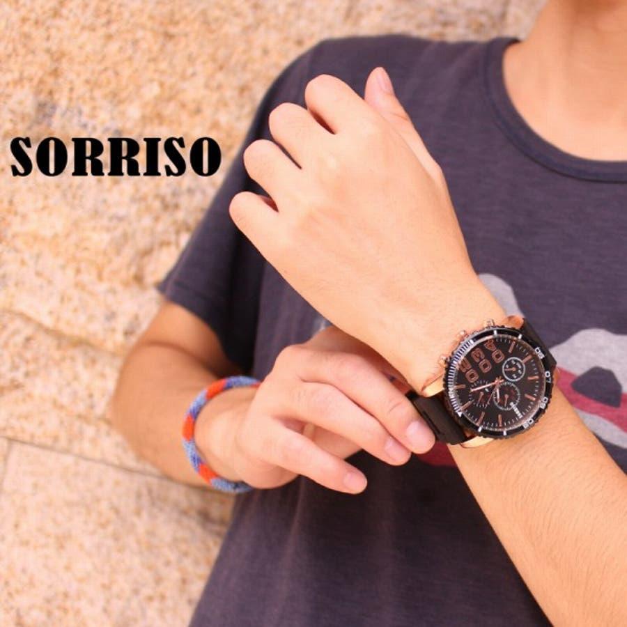 正規品SORRISOソリッソ 52mmビッグケースにラバーベルトのフェイククロノグラフ フェイクダイヤル SRF4 メンズ腕時計 4