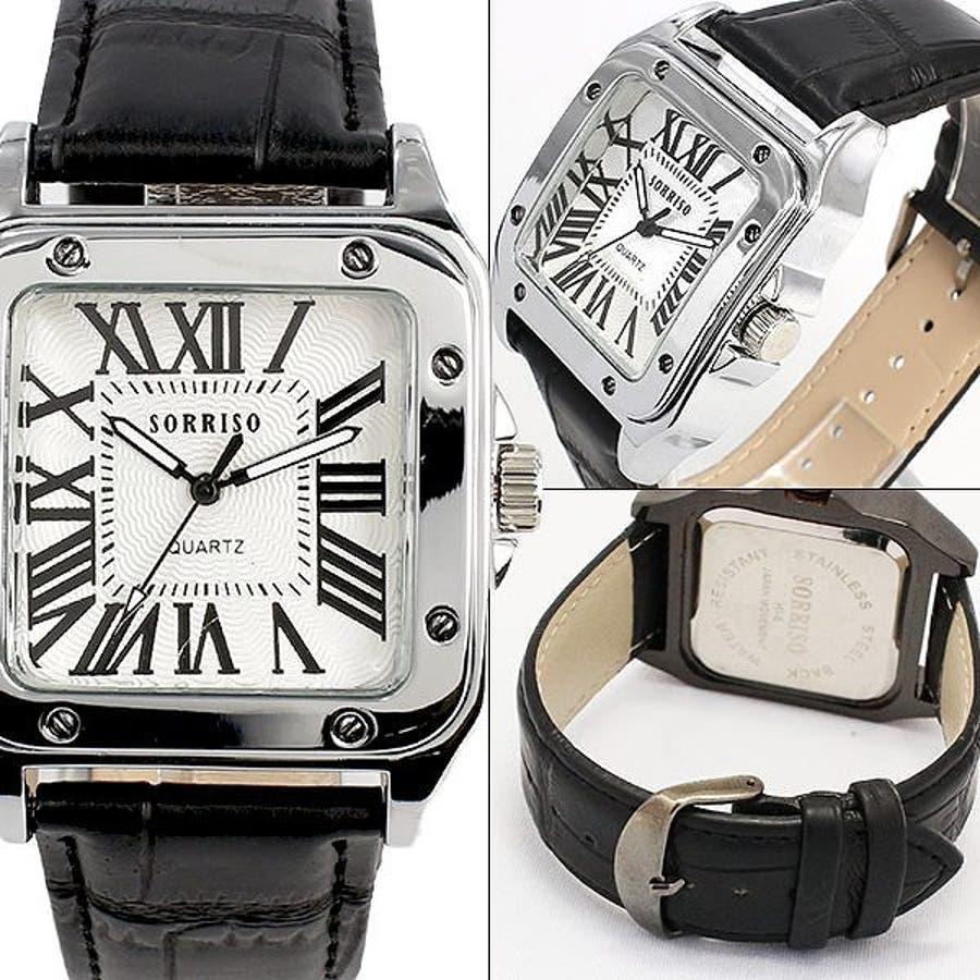 正規品SORRISOソリッソ 高級感漂うスクエアケースにローマ数字インデックスのシンプル上品時計 SRHI9 メンズ腕時計 2