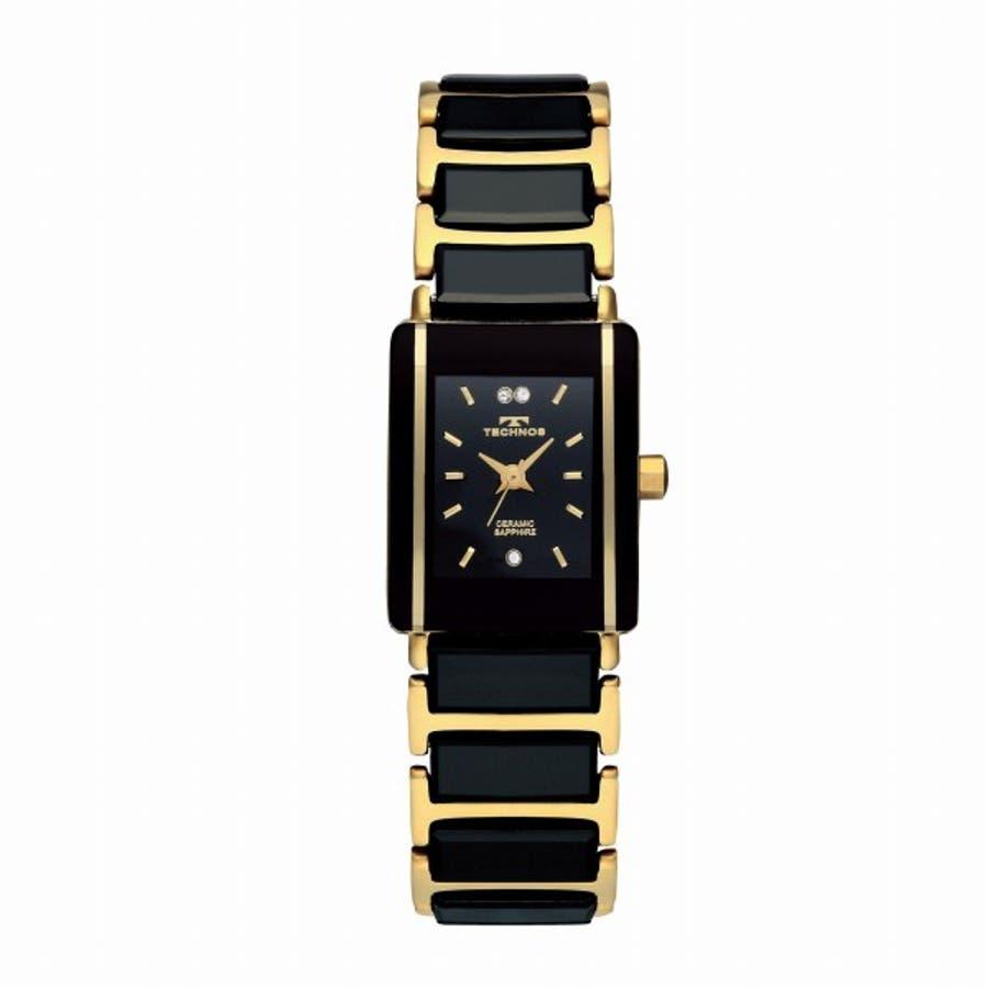 cf44e5a414 TECHNOS腕時計 テクノス TSL906GB セラミック腕時計 ゴールドブラック レディース腕時計