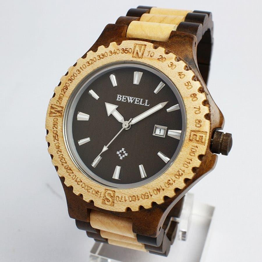 日本製ムーブメント 日付カレンダー 安心の天然素材 ナチュラルウッドウォッチ 木製腕時計 軽い 軽量 自然木天然木ユニセックスWDW012-03 CITIZENミヨタムーブメント メンズ腕時計 3