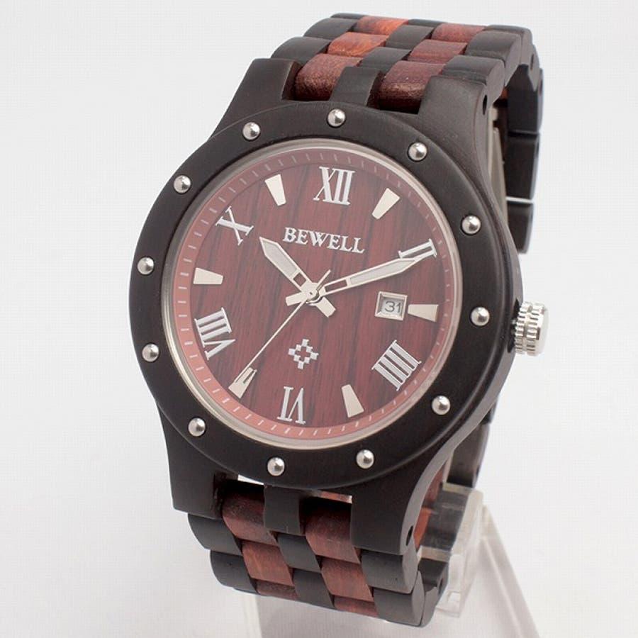 日本製ムーブメント 日付カレンダー 安心の天然素材 ナチュラルウッドウォッチ 木製腕時計 軽い 軽量 自然木天然木ユニセックスWDW018-04 CITIZENミヨタムーブメント メンズ腕時計 3