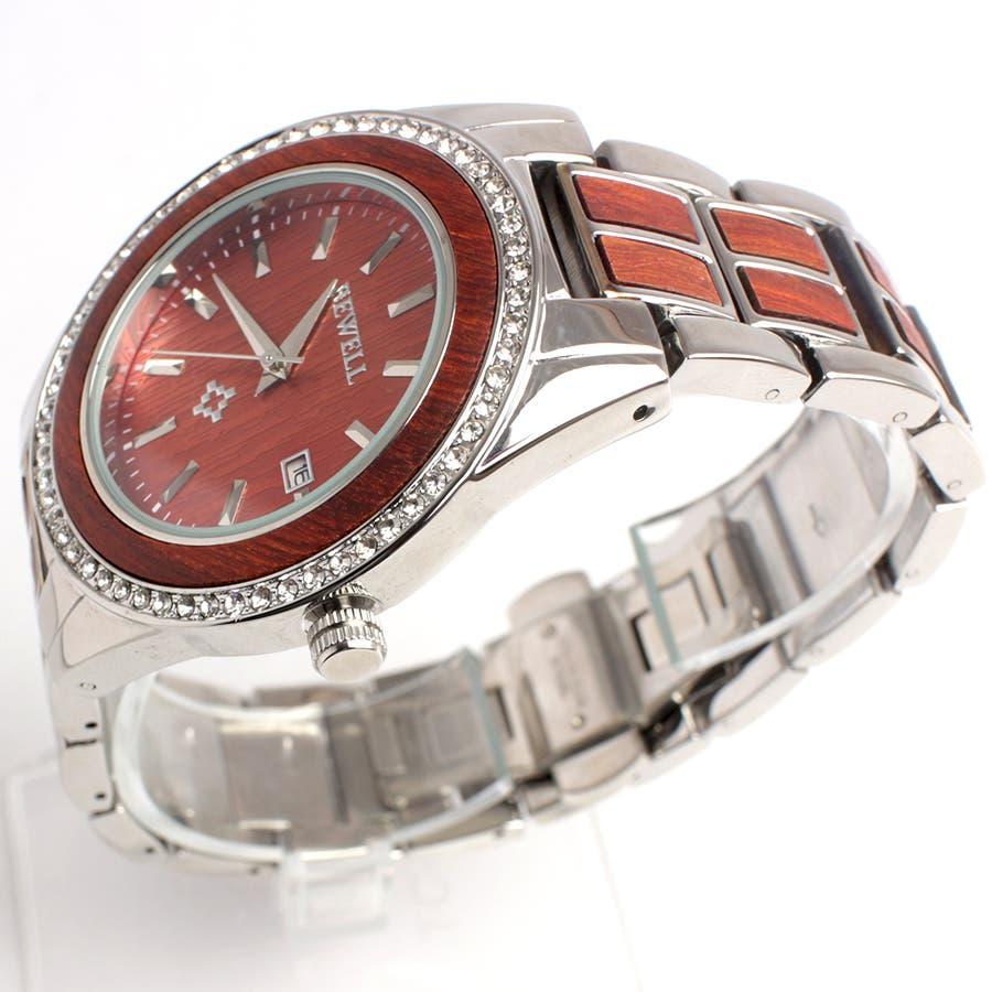 木製腕時計 木製ポイントデザイン メタルバンド ラインストーン 安心の天然素材 ナチュラルウッドウォッチ 自然木天然木WDW023-02 ユニセックス メンズ腕時計 3